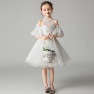 Off Shoulder Halter White Flower Girl Dresses for Wedding Appliques Princess Party Dress Ball Gown Holy Communion Dress B469