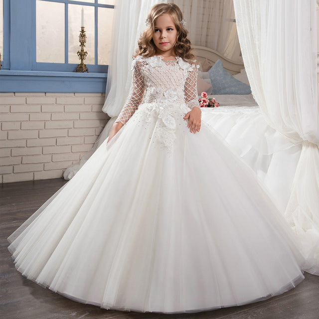 Fancy Pageant Dress Long Sleeves Lace Appliques Ivory Satin Flower Girl Dresses Wedding Mesh Holy First Communion Dresses