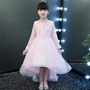 Children's clothing girls dress summer spring princess white lace flowers long tail wedding kids dresses for girls free shipping