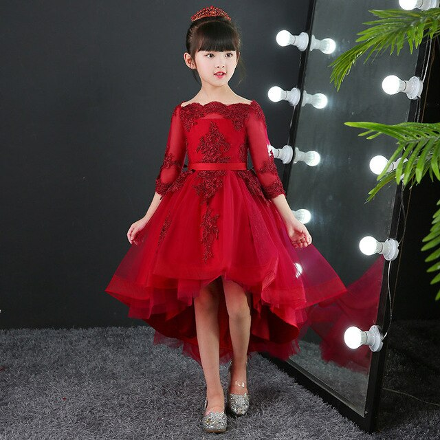 Children Weddings Events Evening Party Flower Girl Dresses Noble Burgundy Junior Bridesmaid Dress Kids Birthday Communion Gowns