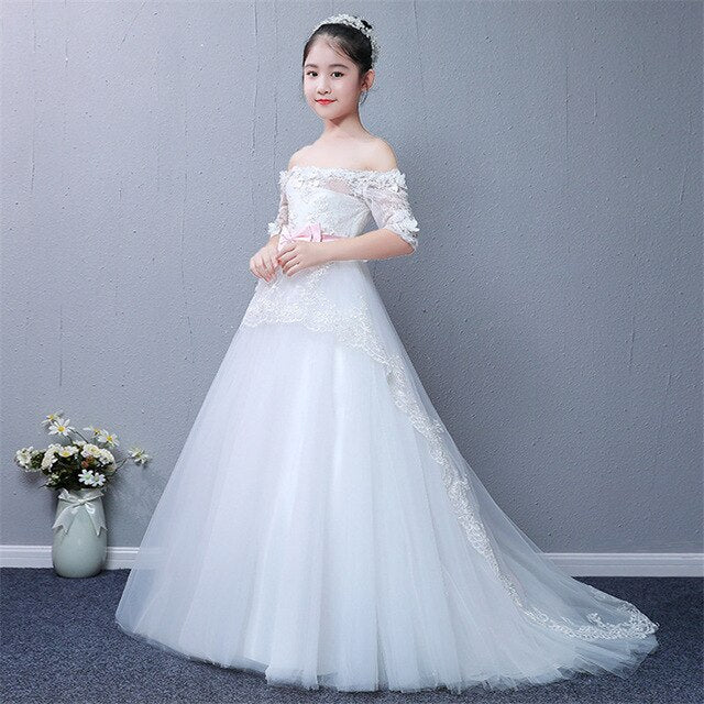 Luxury Baby Kids White Long Tail Princess Lace Dress For New Year Clothes Girls Kids Shoulderless Wedding Evening Party Dress
