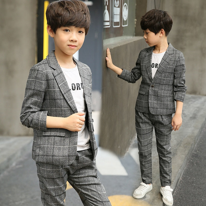 Boys Casual Suits 2 Pcs 2019 Spring & Fall Children's Spring Fall Clothing Set Male Kids Leisure Plaid Jacket + Pants 2 Pcs X75