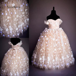 High Quality Champagne Flower Girl Dresses For Weddings Ball Gown Off Shoulder 3D Flowers Baby Clothes Pageant Gowns For Girls