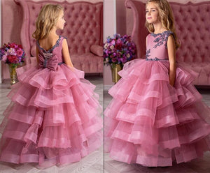 New Arrival Tulle Flower Girls Dresses for Wedding Customized Ball Gown For 2-14 Y Princess New Girls Pageant Gowns Tiered Longo