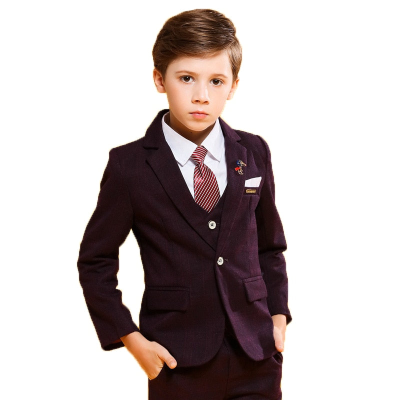 Formal Children's Plus Velvet Suit Sets Flower Boys Wedding Party Piano Performance Dress Clothes Kids Tuxedo Vest Pants Shirts