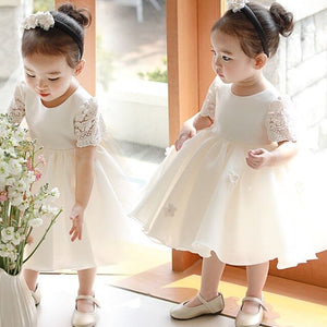 Newborn Baby Girls Dress Flower Princess Birthday Party Formal Christening Gown Dress with Bow Infant Baptism Christening Gown
