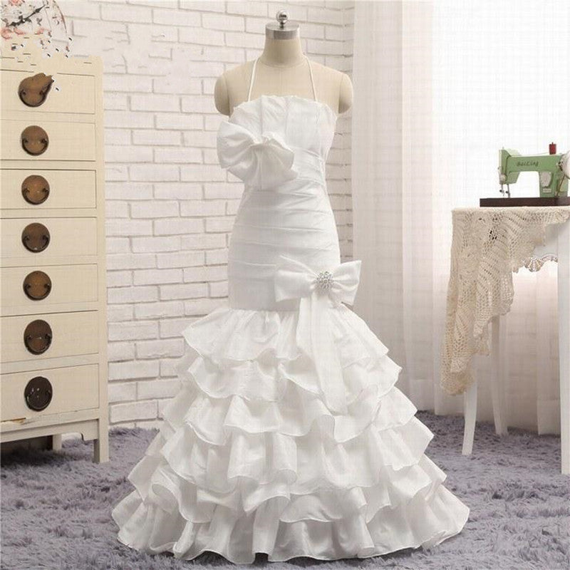 New Design 2019 Satin Flower Girl Dress For Wedding Halter Backless Tiered Ruffles Layered Girls Pageant Gown with Bows Beading