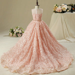 Flower Girl Dress Girl Wedding Dress Pink Long Trailing Dress Girls Party Dress Kids Birthday Clothing for 2-13 years