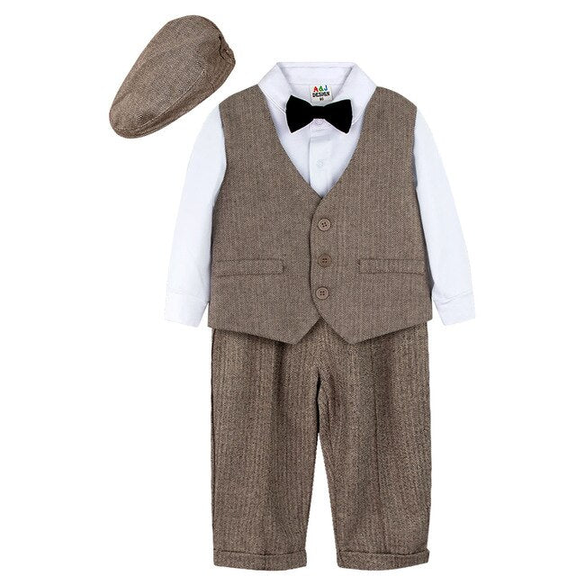 Baby Boys Gentleman Suit Set Infant Formal Overalls Newborn Long Sleeve With Hat Vest Bow Tie Suspenders Trousers Outfit 4PCS