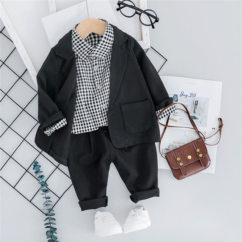 Newborn Baby Boys Suits Set Formal Casual Plaid Long Sleeve Shirt Jacket Pants Wedding Suits 3pcs Toddler Boy Clothing Sets 2019