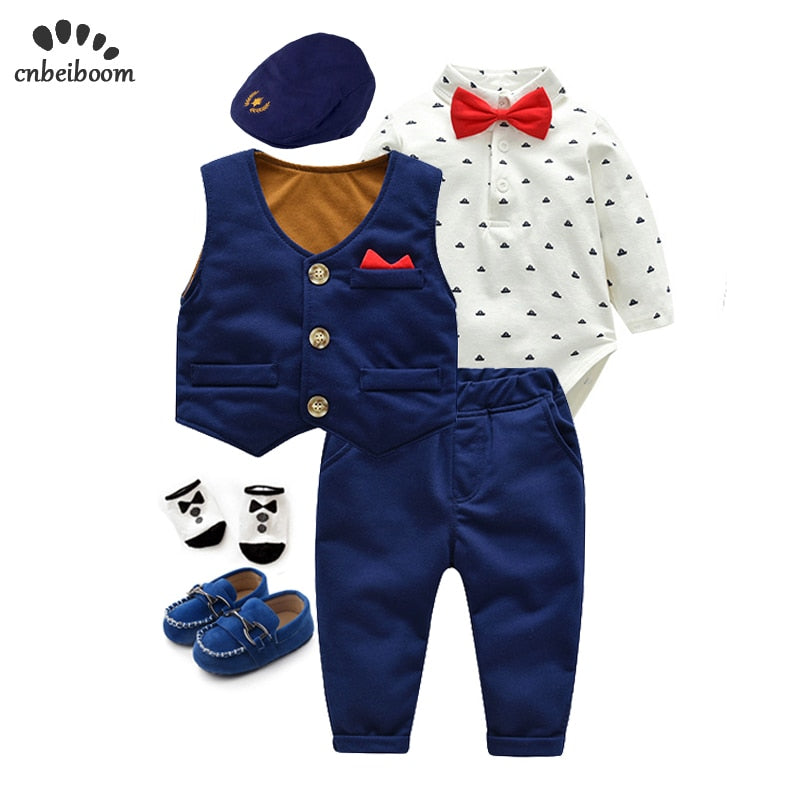 6 piece/lot Newborn Baby boys Clothes Cotton Infant long sleeve rompers vest pant gentleman suits Boys birthday Clothing set