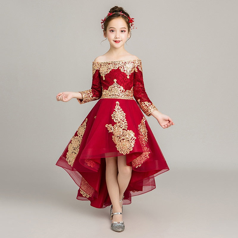 Girl's wedding Christmas dress  Red long-sleeved dress 2019 new Summer Sweet one-shoulder TuTu dress Aureate embroidery