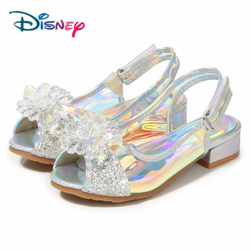 Disney Children Girls Peep Toe Sandals Frozen Shoes For Girls Dancing And Party Shoe Rhinestone Bow Else Shoes