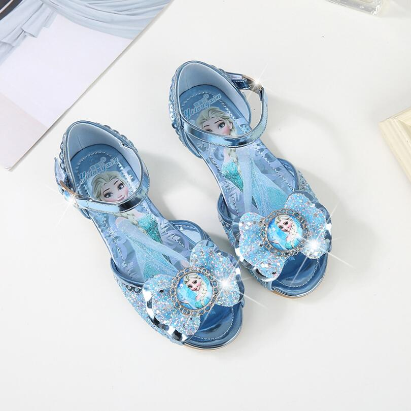 2018 New Fashion Girls Elsa Sandals Princess high quality Shoes low heel soft Cartoon Summer Toddler Girl Shoes Ice Snow Queen