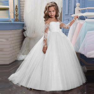 New Long Sleeve Dress Girls Wedding Dress For Girls Clothing Kids Christmas Dress Costume Party Princess4 6 8 10 12 Year