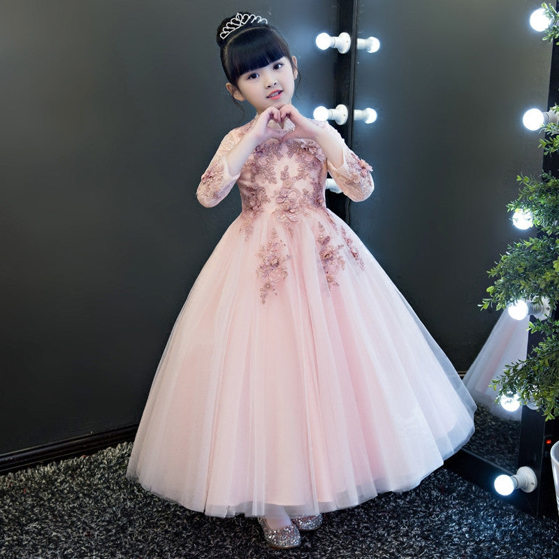 Baby Girl Cosplay Costume Birthday Wedding Ball Gown DressRed-Wine Pink Color Girls Children Christmas Party Long Lace Dresses