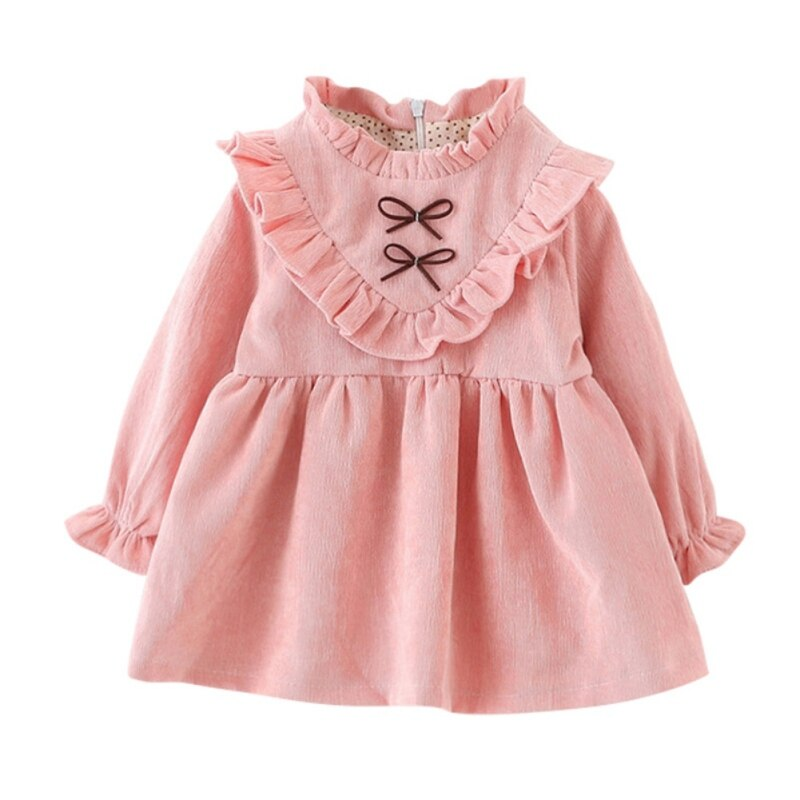 Kid Girls Dresses Velvet Dress Long Sleeves Children Spring Autumn Clothing Ruffles Bow Lace Party Princes Dresses