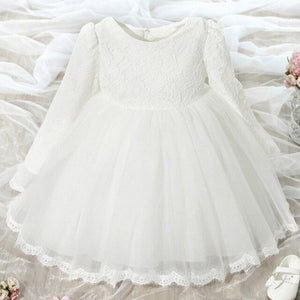 Elegant Plus Velvet Winter Thick Long Sleeves Little Girls Princess Dress Kids Teenagers Tutu Party Lace Dress Children Clothing