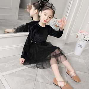 JMFFY 2019 Spring Dresses For Girls Toddler Dresses Children Autumn Dress Girl Princess Party 4-15T Outwear Kids Clothes Velvet