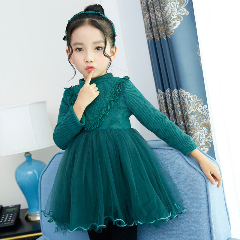Girls Warm Velvet Dress 2017 New Autumn Winter Turtleneck  Girls Clothes pink green Long Sleeve Kids tutu Dresses 4-14T