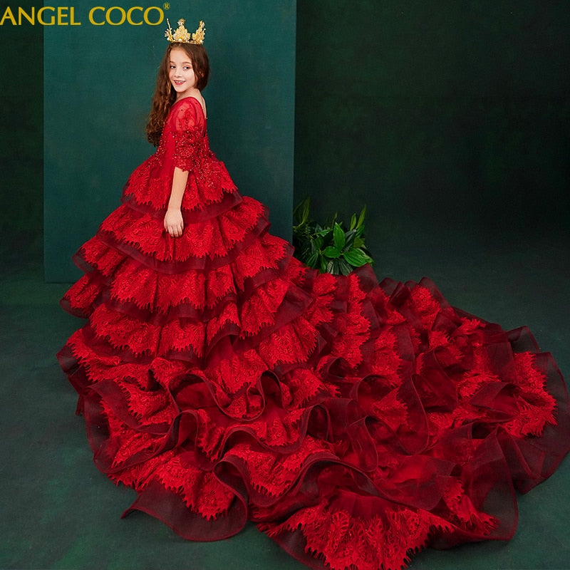 Gorgeous Royal Children's Princess Trailing Girls Wedding Party Fluffy Flower Girl Costumes Host Evening Dress Catwalk Show