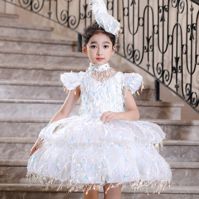 Luxury Flower Girl Dresses for Wedding Detachable Halter Collar Sequined Ball Gown Holy Communion Dress Kids Birthday Gowns B480
