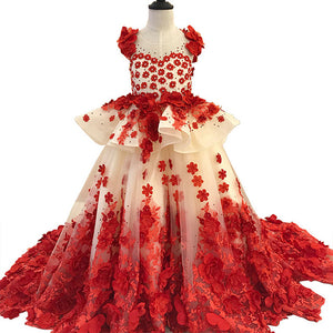 luxury sleeveless 2019 3D flower girl dresses puffy red communion party ball gown dress for wedding