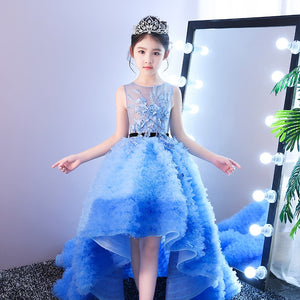 Blue Royal Princess Dress Long Tailling Ball Gown Flower Girl Dresses Wedding Kids Pageant Dress Birthday Performance Costume