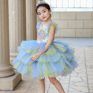 High Quality Princess Dress Layered Dress Sequined Cute Love Flower Girl Dresses for Wedding Crystal Kids Party GownsB478