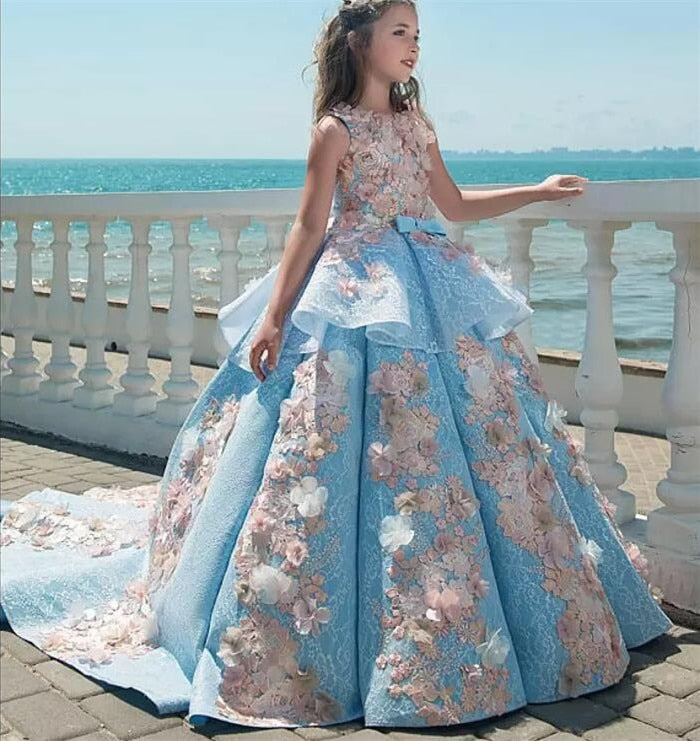 Real Pictures 2019 Girls Pageant Dresses Ball Gown Children Birthday Wedding Party Dresses Teenage Princess Flower Girls Dresses
