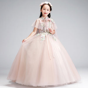 Luxury First Holy Communion Dress Embroidery Flower Girl Dresses for Wedding Birthday Party Ball Gown Kids Formal Gowns B312