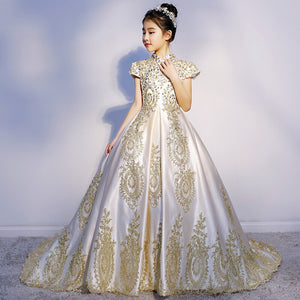 Formal High Neck Kids Princess Gown Golden Lace Cap Sleeve Princess Gown Flower Girl Dresses Lace Wedding Party Birthday