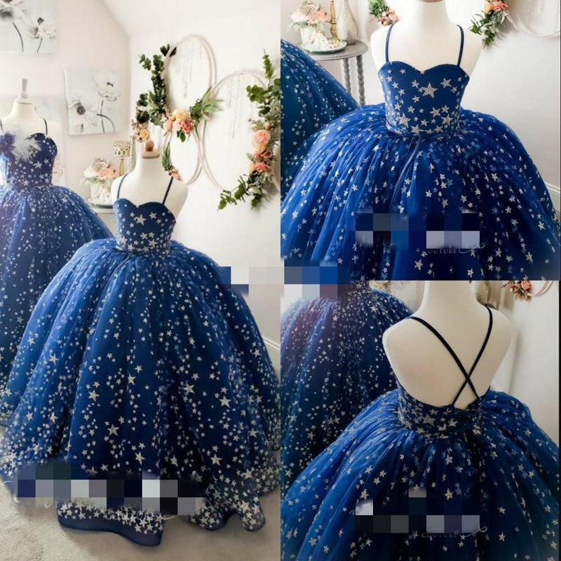 Blue Star Ball Gown Flower Girl Dresses For Wedding Tulle Appliqued Luxury Girls Pageant Gowns Spaghetti Custom Made First Commu