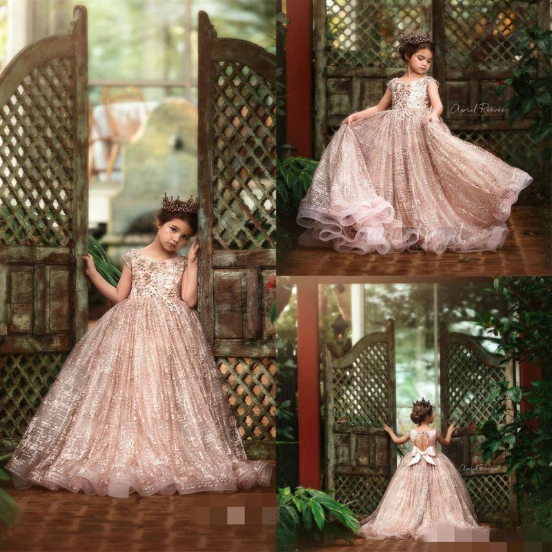 2020 Glitz Little Girls Pageant Dresses Lace 3D Floral Appliqued Beads Jewel Neck Lace Flower Girl Dress for Wedding Party Gowns