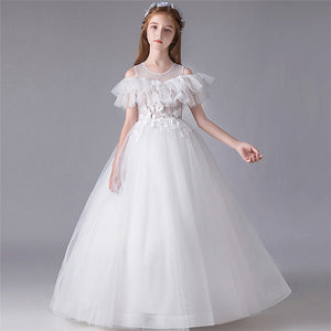 3~15Years Children Kids Pure White Color Birthday Wedding Party Princess Florals Fluffy Dress Girls Host Piano Performance Dress