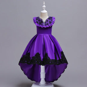 new girl princess dress party dress for kids girl Trailing tutu dress Gemstone decoration Sleeveless Wedding presiding