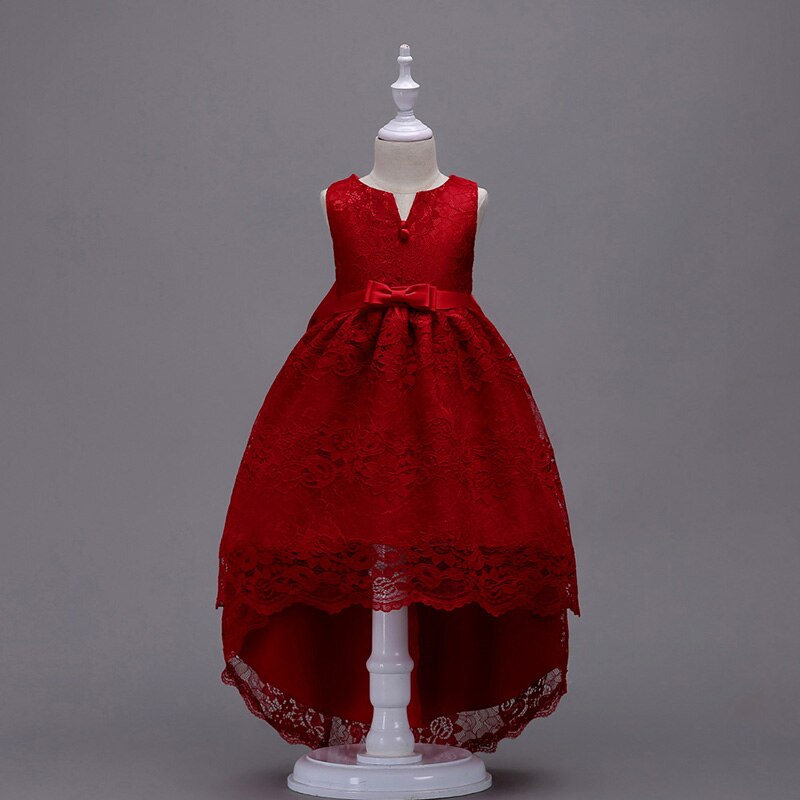 Lace Vestido Girls Sleeveless Trailing Lace Princess Children Flower Girl Dress For Wedding Party Prom Christmas Clothing