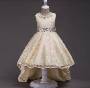High Low Lace Flower Girls Dress Wedding Teens Prom Party Perform Gowns Kids Children Clothes