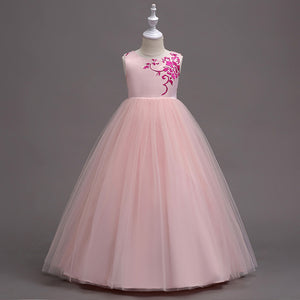 Fashion Princess Flower Girl Dress Satin Tulle Sleeveless Embroidery Tutu Dress For Little Kids Wedding Party Christmas Clothing
