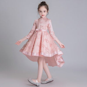 Flower Girl Dresses For Weddings Kids Front Short And Long Back Dress Irregular Clothing Ball Gowns For Children Performance Kid