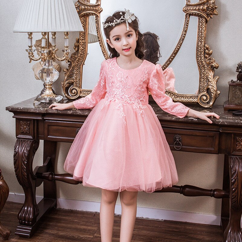 Flower Girls Dresses for Weddings Lace Long Sleeve Girls Pageant Dresses Kids First Communion Dress For Prom Party Gown