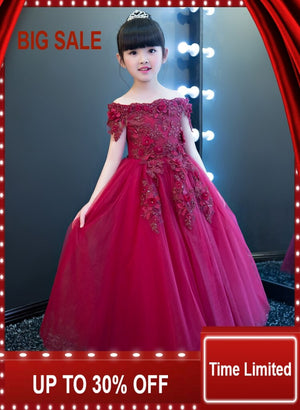 Elegant Girls Shoulderless Flower Girl Wedding Dress Appliques Party Tulle Princess Birthday Dresses Gown