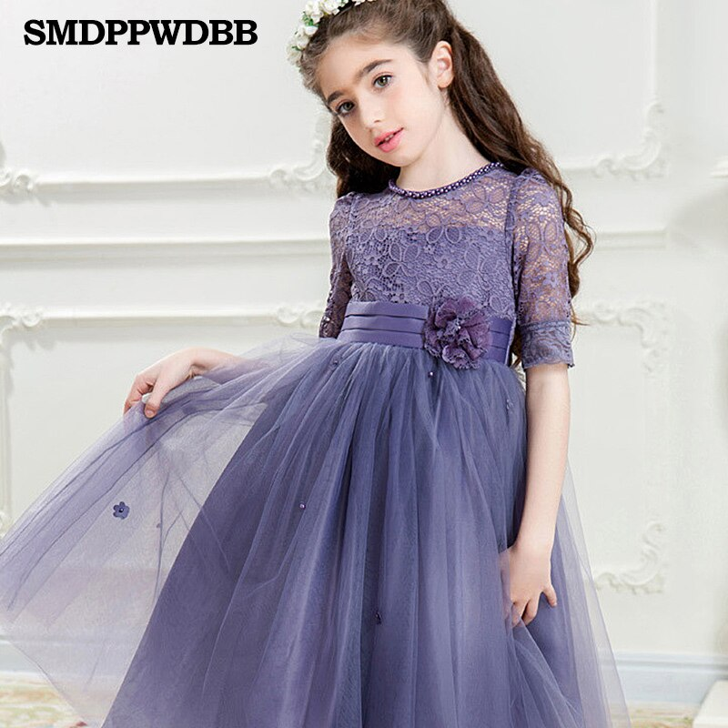 Summer Flower Girls Dresses For Wedding White Lace Girl Formal Birthday Party Dress Princess Gown Kids First Communion Gown