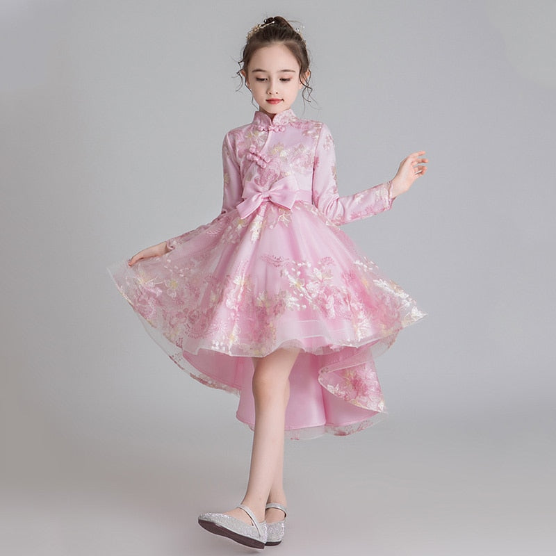 Ball Gowns For Pageant For Girls Front Short Back Long Iregular Piano Costume Flower Girls Dress Wedding Party Dresses For Kids