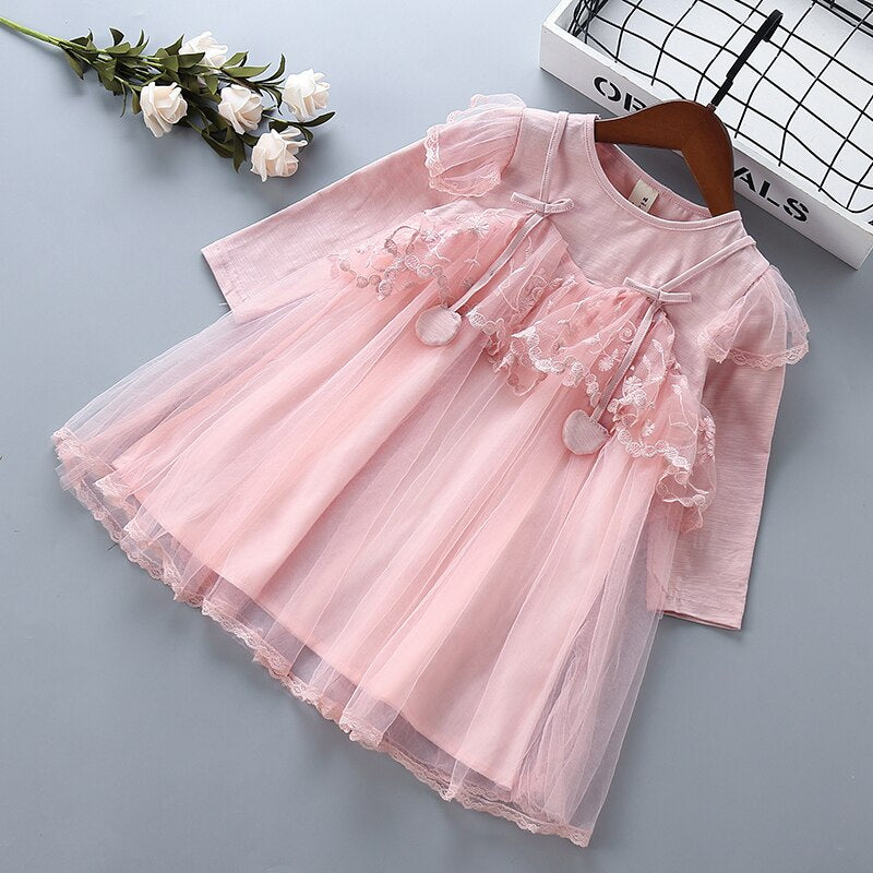 2-6 year High quality girls dress 2019 spring autumn new fashion casual full sleeve kid children girls clothing princess dresses