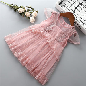 0-6 years High quality girl dress 2019 summer new fashion casual flower kid children formal party birthday princess girl dress