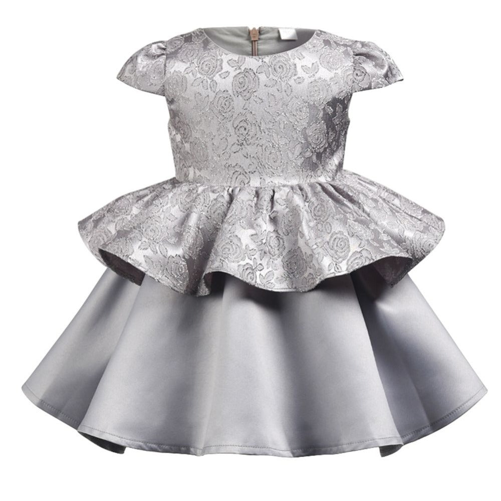 New Arrivals High Quality Children Girls A Line Short Puff Sleeve Solid  O Neck Princess Dress With Head Band