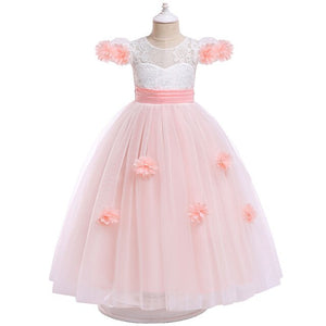 Children High-quality Clothing 4-12 Years Lace Teenagers Kids Girls Wedding Long Dress elegant Princess Party Pageant Christmas