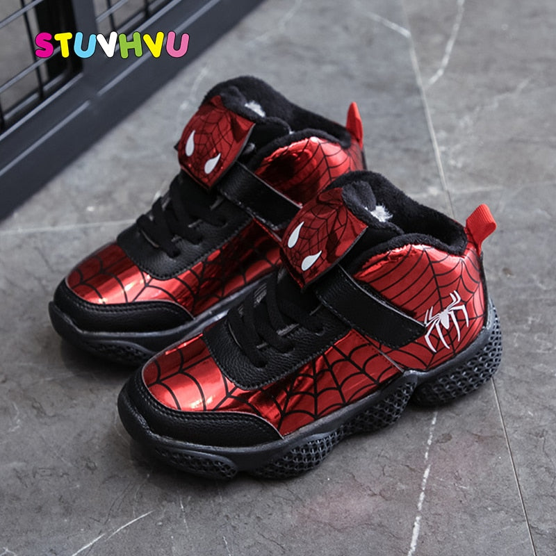 Children's Shoes Plus Velvet Warm Boys Sports Shoes Fashion Leather Spiderman Kids Casual Sneakers Winter Boys Snow Boots