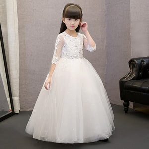 2 Style Flower Girls Wedding Dresses Summer 2017 Long-sleeved lace diamonds Girl Clothes O Neck Piano performance Girls Dress P1